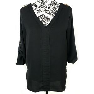 Umgee Black Split Neck Blouse